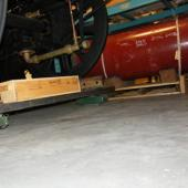 The Albion locomotive is on load skates which allow us to tow it with the forklift when we need to move it