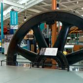 This flywheel from a steam engine was made in Amherst for the steel mill in Sydney. It is 20 feet across and weighs about 75,000 lbs. That's just one piece! The whole engine weighed about 130 tons.