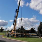 Here a local crane company gives us a lift