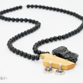 Coal (Coal, Bronze, Sterling Silver, Pyrite, Yellowheart, Glass Beads)